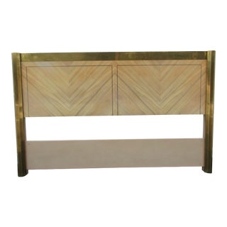 Mastercraft Zebrano and Brass Queen Headboard For Sale