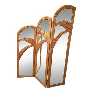 1970s Rattan Bamboo Mirrored Three Panel Screen For Sale