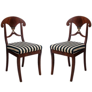Pair of Swedish Mahogany Karl Johan Biedermeier Side Chairs, Circa 1825 For Sale
