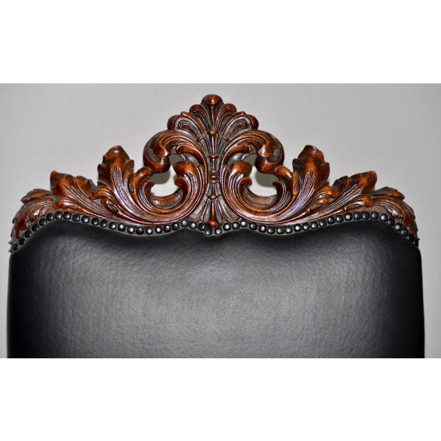 Animal Skin 19th Century Jacobean Walnut Hand Carved Arm Chair W/ Leather Upholstery For Sale - Image 7 of 9