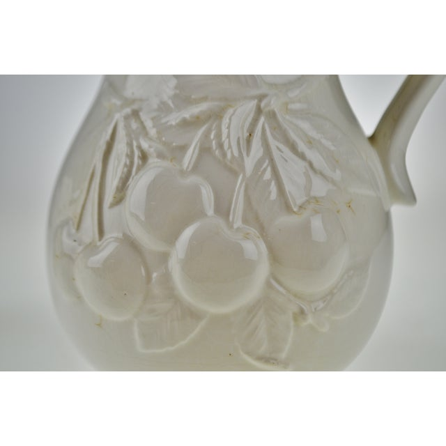 Antique White Early White Porcelain Pitchers with Relief Cherry Drop Design - Set of 3 For Sale - Image 8 of 11