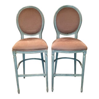 Sarreid Louis XVI Round Back Bar Stools - A Pair For Sale