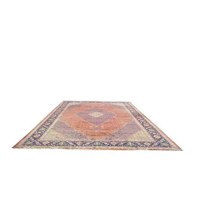 Traditional Hand Made Knotted Tabriz Mahi Design Rug - 12′9″ × 19′7″ - Size Cat. 12x18 13x20 For Sale