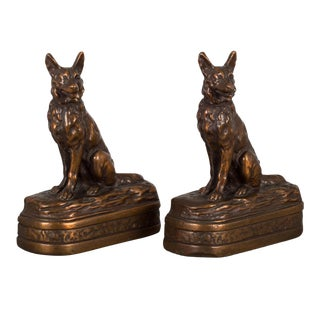 Bronze Cast German Shepherd Bookends by Armor Bronze C.1930