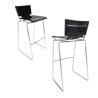Laced Leather & Chrome Bar Stools by Toyoda Hiroyuki for Icf Group, Italy For Sale