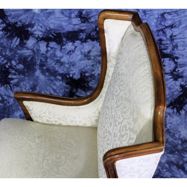 French Country Louis XV Style French Provincial Upholstered Bergere Chair For Sale - Image 3 of 4