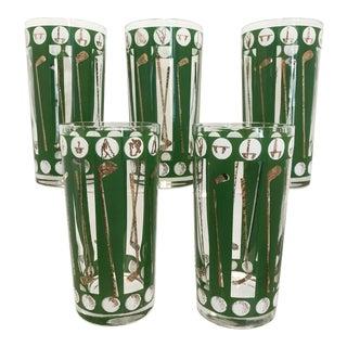 Vintage 1974 Green Golf Club Highball Glasses - Set of 5