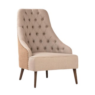 Burlap Back Easy Chair For Sale