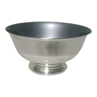 Paul Revere Blue Enamel Interior Silverplate Bowl For Sale