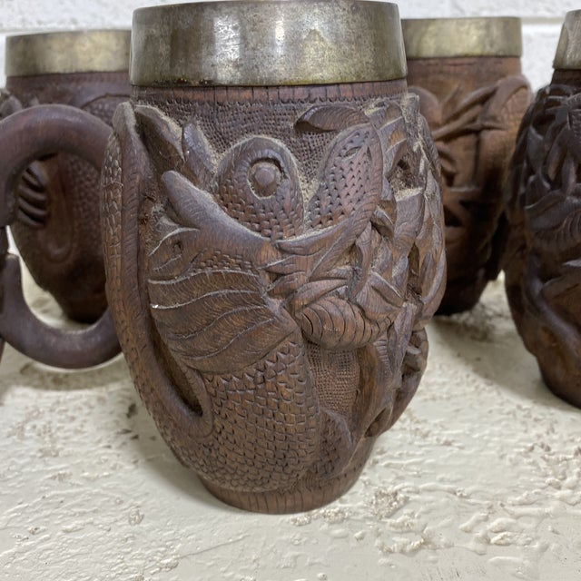 Sheesham Wood Dragon Carved Tankards - Set of 5 For Sale - Image 9 of 11
