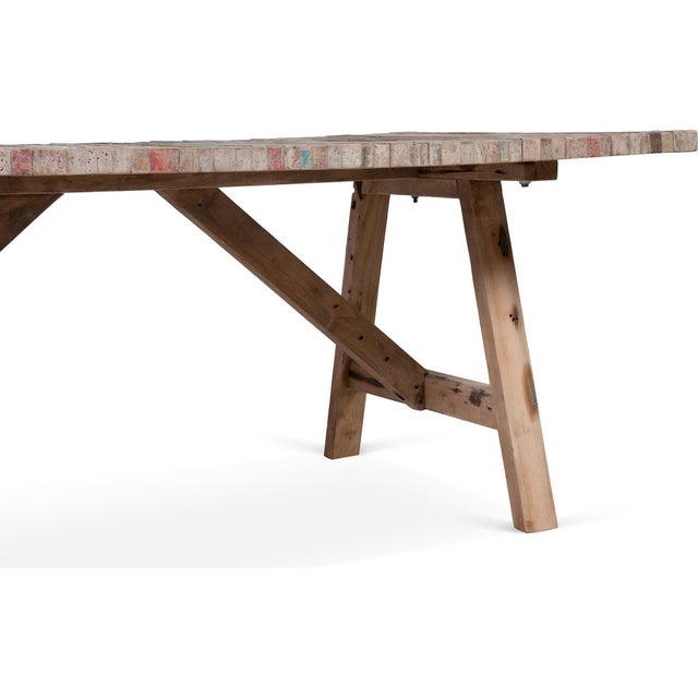 Salvaged Wood Balinese Trestle Table For Sale - Image 4 of 5