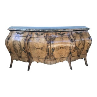 Early 20th Century Traditional Marble Top Inlaid Sideboard