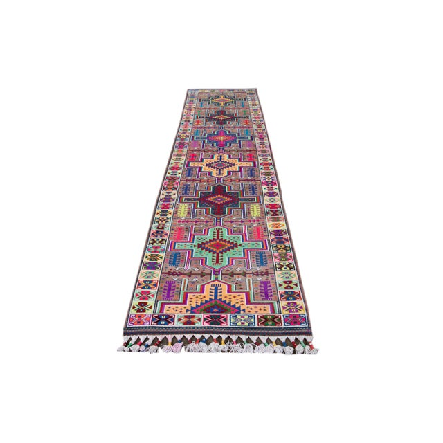 Mid-20th Century Colorful Vintage Turkish Wool Runner Rug 3 X 13 For Sale - Image 10 of 12