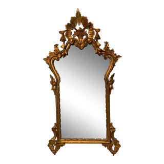 Antique Italian Rococo Giltwood Carved Rectangular Mirror For Sale