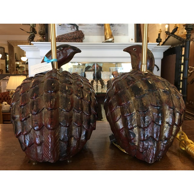 Antique Polychrome Decorated Wood Bird Figure Lamps - a Pair - Image 10 of 10