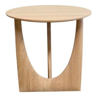 Oak Geometric Side Table For Sale
