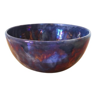 1960s Vintage Kenneth Dierck Metallic-Glazed Studio Pottery Bowl For Sale