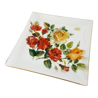 Vintage Hand Painted Floral Viking Glass Tray For Sale
