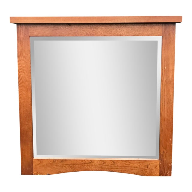 Mid-Century Beveled Mirror in Sturdy Frame For Sale