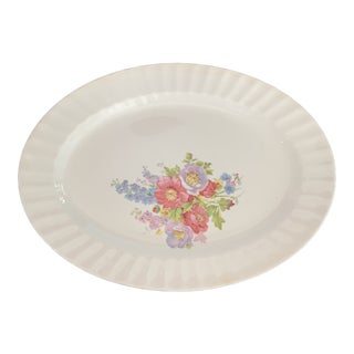 1940s Edwin M. Knowles Oval Floral Platter For Sale