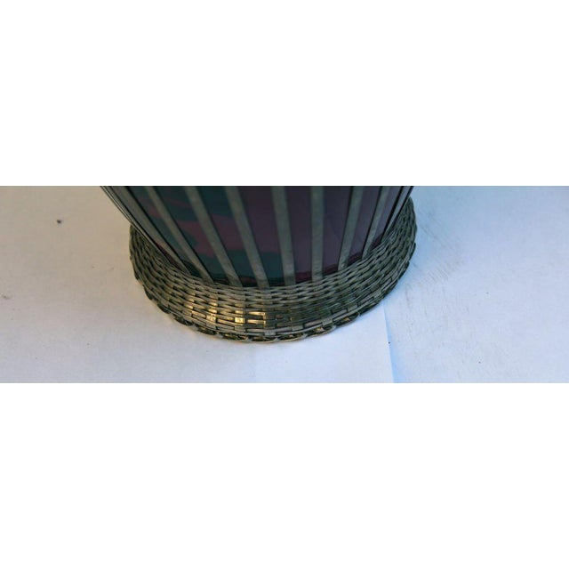 Japanese Silver Plate Overlay Basket Weave Pottery Vase For Sale - Image 4 of 9