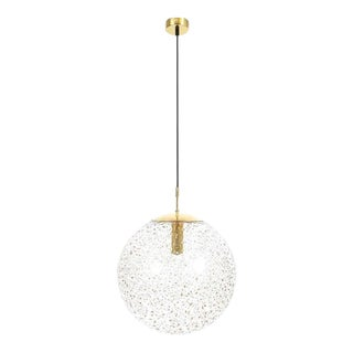 Large Limburg Glass Brass Ball Pendant Lamp, 1960 For Sale