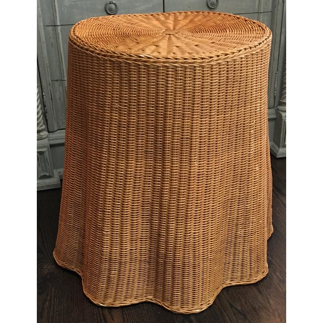 1970s Boho Chic Trompe l'Oeil Draped Wicker Rattan Ghost Table For Sale - Image 11 of 11
