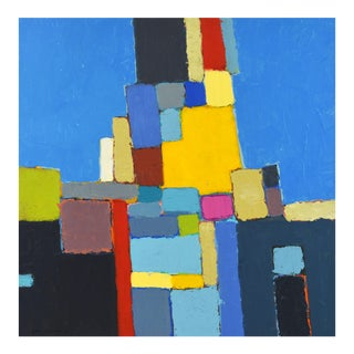 'Street View' Contemporary Abstract Original Painting by Lars Hegelund, 25 X 25 In. For Sale