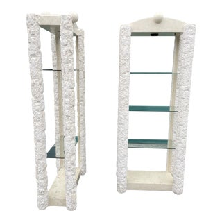 Vintage Hacer Travertine Shelves - a Pair For Sale