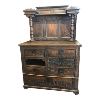 Antique Oak Hand Carved Cabinet For Sale