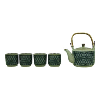 Vintage 1970s Geometric Pattern Stoneware Teapot With Bamboo Wicker Rattan Handle and Sake Tea Cups, Tea Pot With Hexagons & Dots - 5 Piece Set For Sale
