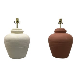 Vintage Chalkware Ginger Jar Lamps - a Pair For Sale