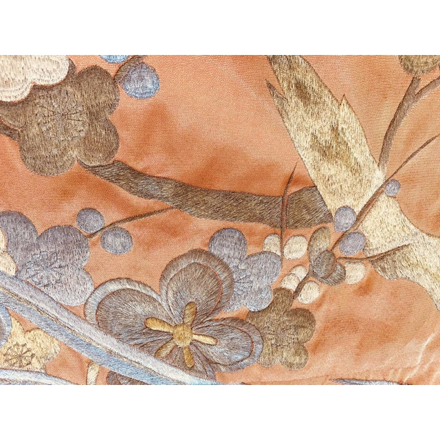 Vintage Brocade Japanese Ceremonial Kimono in Orange, Gold and Silver For Sale - Image 11 of 13