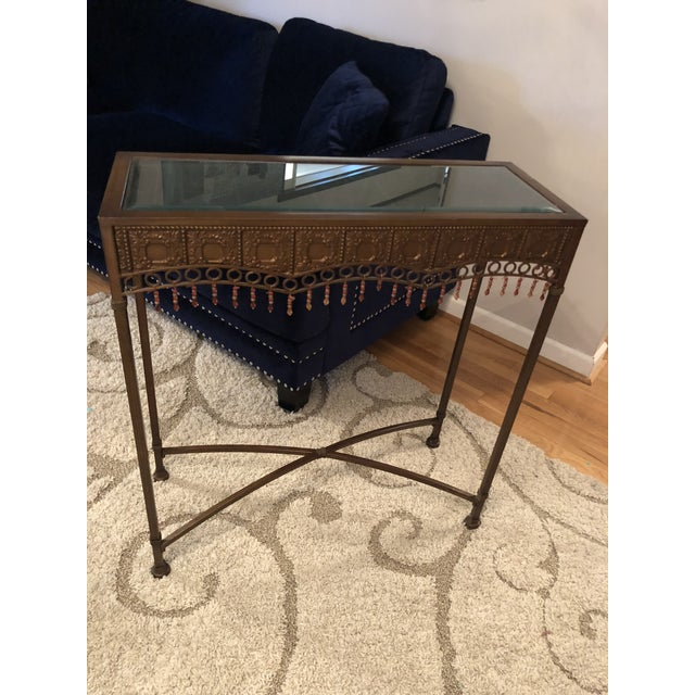 Bombay Co. Bohemian Hammered Bronze Copper Metal Accent Table For Sale - Image 13 of 13