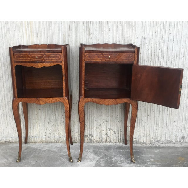 Country Pair of French Marquetry Walnut Bedside Tables With Drawers and Open Shelf For Sale - Image 3 of 13