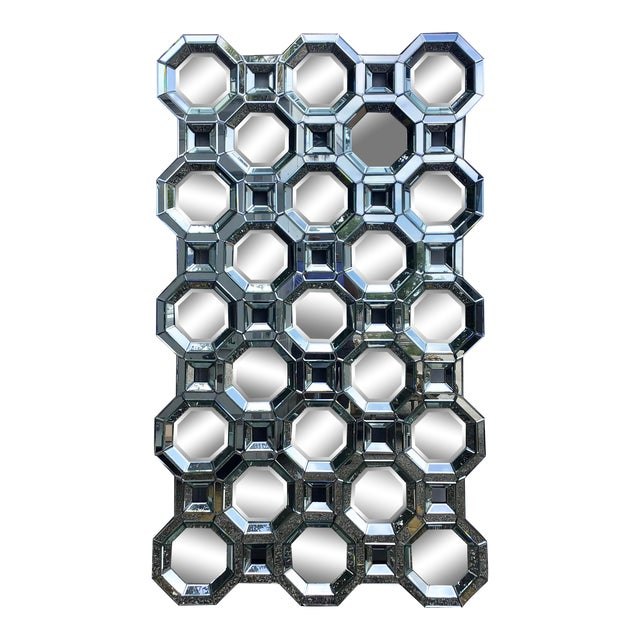 Monumental Size Mid Century Style Geometric Wall Mirror For Sale