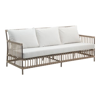 Caroline Exterior 3-Seater Sofa - Moccachino - Tempotest White Canvas Seat and Back Cushions For Sale