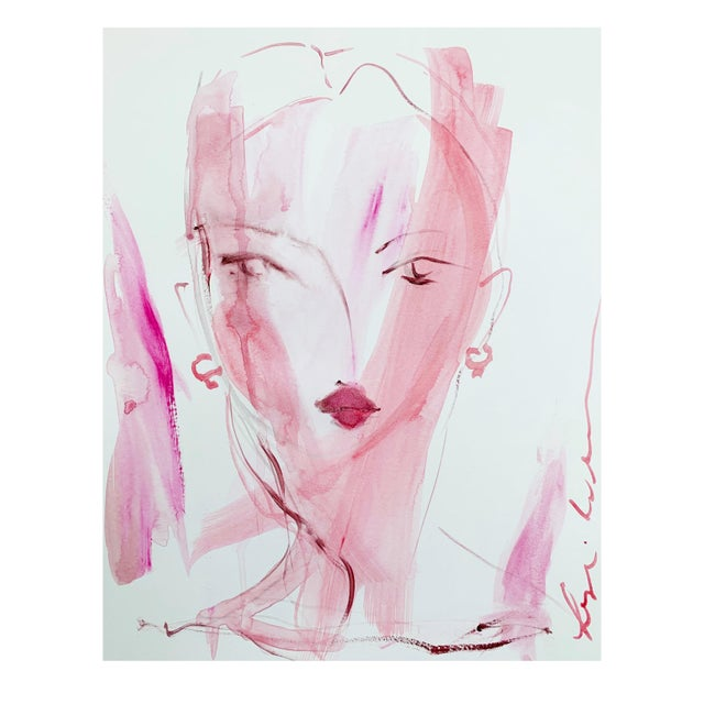 Abstract Lady in Pink by Leslie Weaver For Sale - Image 3 of 3