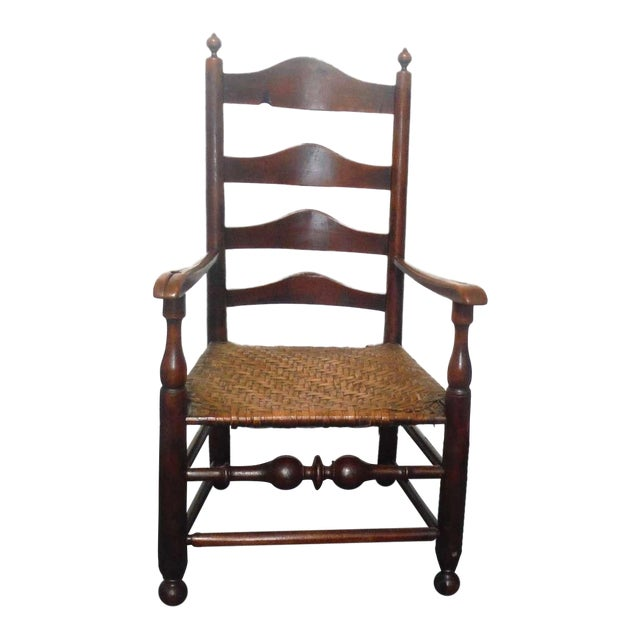 Rare 18th c. Delaware River Valley Ladder Back Side Chair - Image 1 of 8