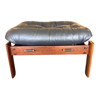 Vintage Charcoal Leather+Rosewood Ottoman For Sale