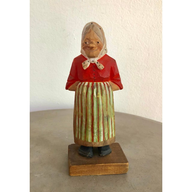 Black Vintage Signed Hand-Painted Wooden Grandma Figurine For Sale - Image 8 of 8