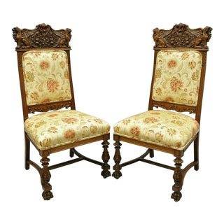Late 19th Century Vintage Carved Oak Winged Griffin Paw Foot Dining Chairs- A Pair For Sale