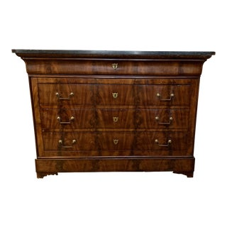 19th Century Traditional Louis Philippe Buffet With Black Marble Top For Sale