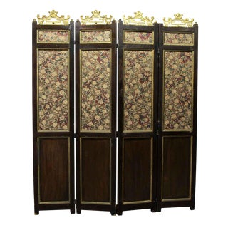 Old Wooden Four Panel Floral Screen Divider For Sale