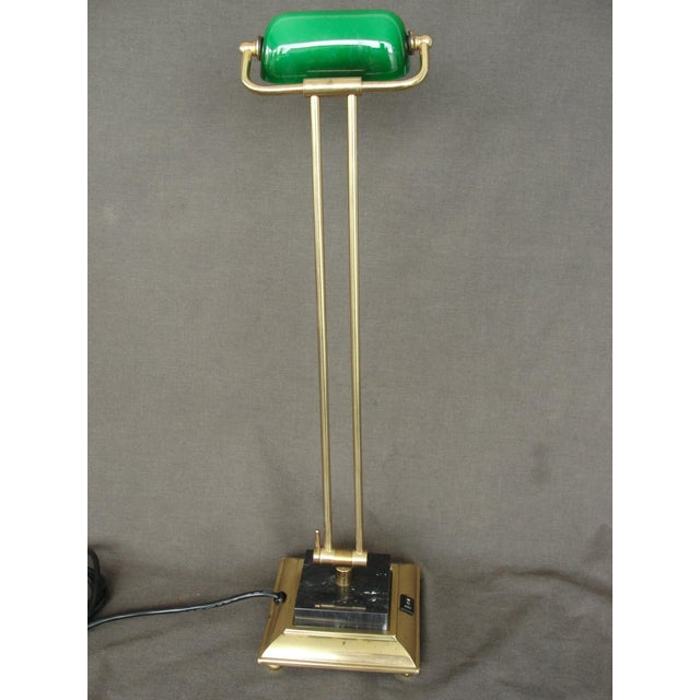 Tall Brass & Green Banker's Desk Lamp - Image 4 of 7