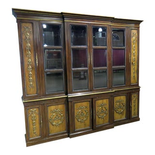 Bronze and Wood Regency Style Breakfront For Sale