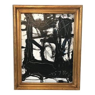 Contemporary Black and White Abstract Painting on Canvas For Sale