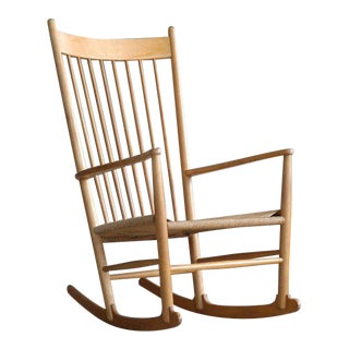 Hans Wegner J16 Rocking Chair in Beech and Papercord Made for FDB Møbler