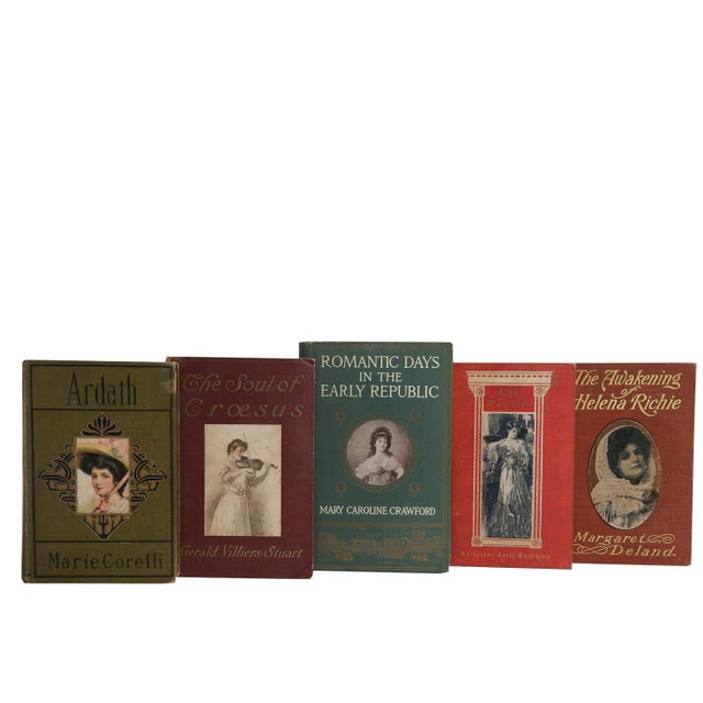 Vintage Book Display Set - Edwardian Era Romance. Five antique and early vintage featuring decorative books with handsome...
