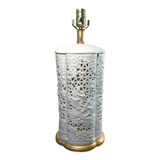 Mario Buatta for Frederick Cooper Chinoiserie Blanc De Chine Table Lamp For Sale